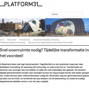 Platform31: tijdelijke transformatie in het voordeel